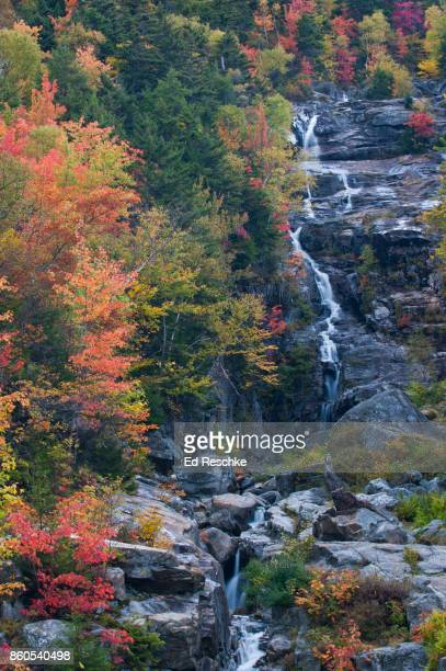 silver cascade waterfall in crawford notch state park, white mountains, new hampshire - ed reschke photography stock photos and pictures