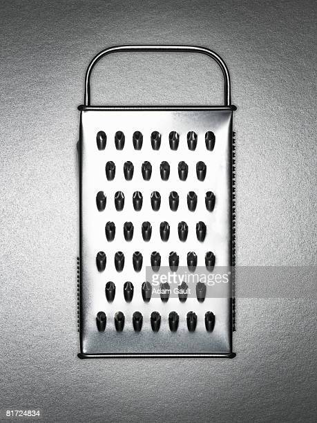 A silver cheese grater