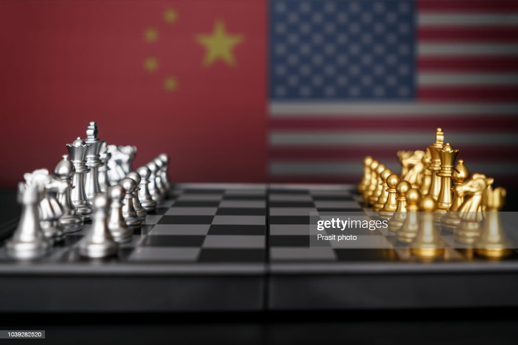 Silver chess against Gold chess with USA and China flag. Design creative illustration for USA and china trade war. : Stock Photo