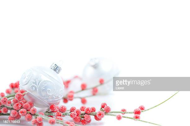 Silver Christmas bauble with red holly berries