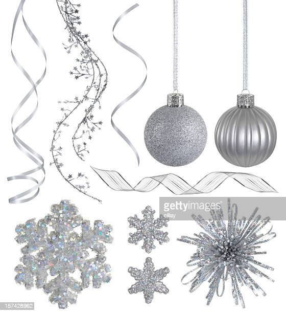 silver christmas collection - silver coloured stock pictures, royalty-free photos & images