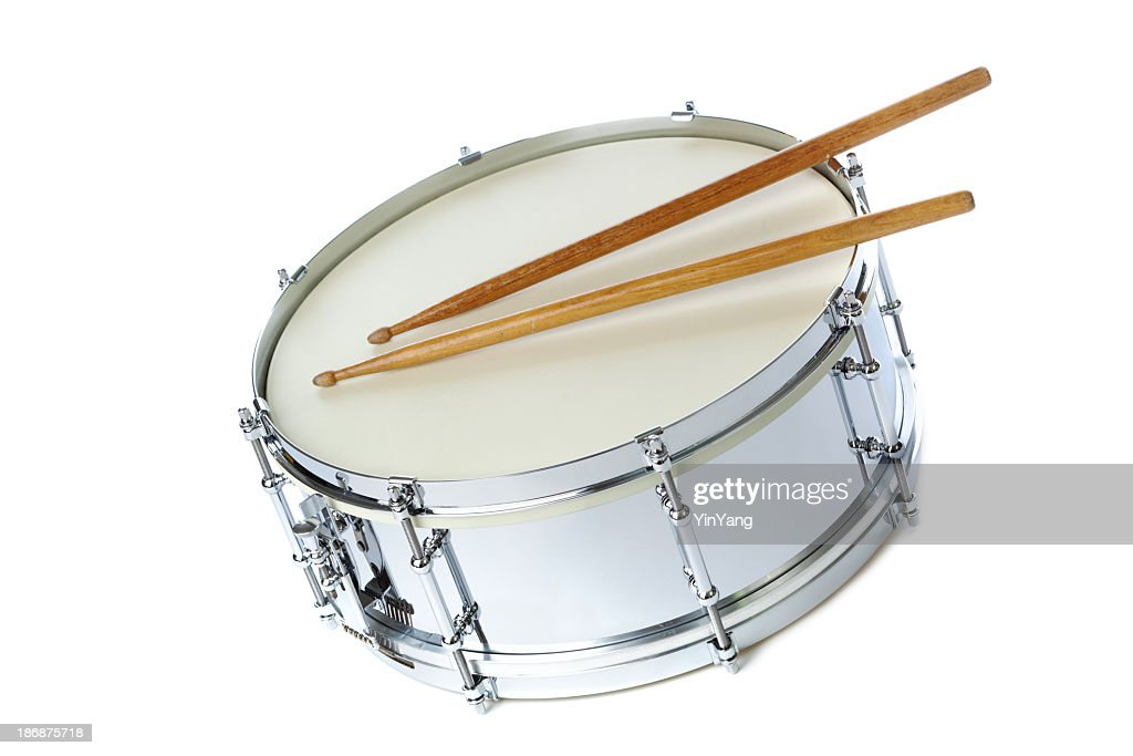 Silver Chrome Snare Drum With Sticks Instrument On White ...