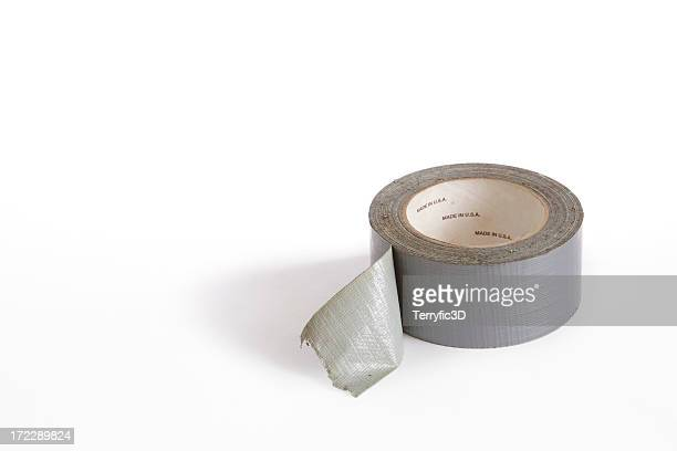 silver cloth duct tape roll for repairing anything - rolled up stock pictures, royalty-free photos & images