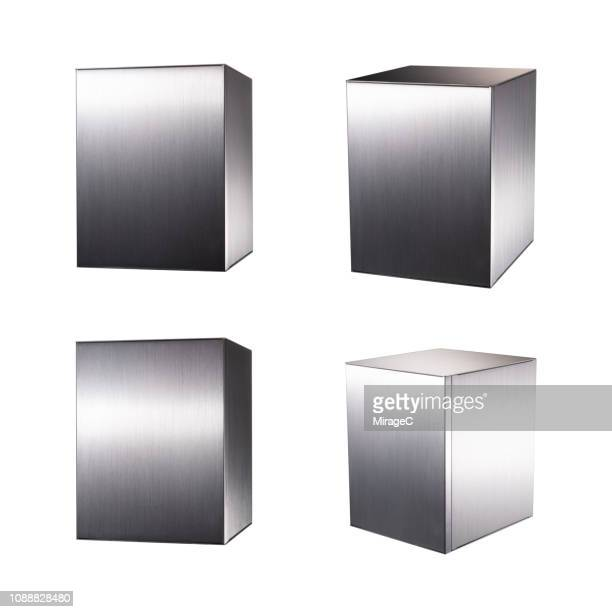 silver colored metal box computer case - cube stock pictures, royalty-free photos & images
