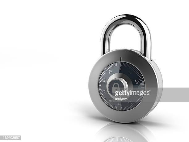 Silver combination lock on all white background