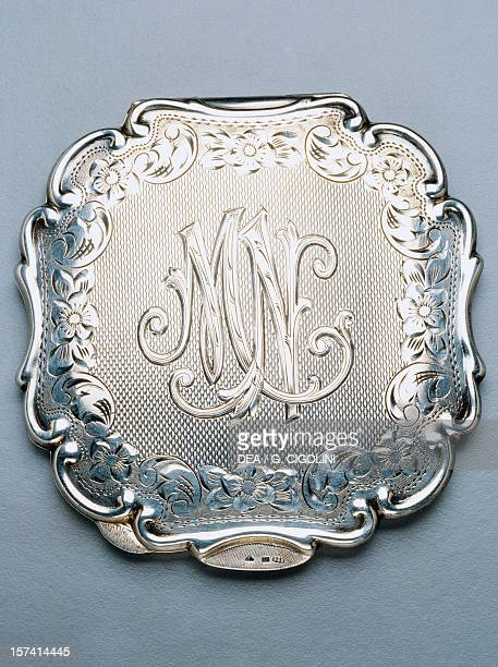 Silver compact powder case with initials MN 1930 Italy 20th century