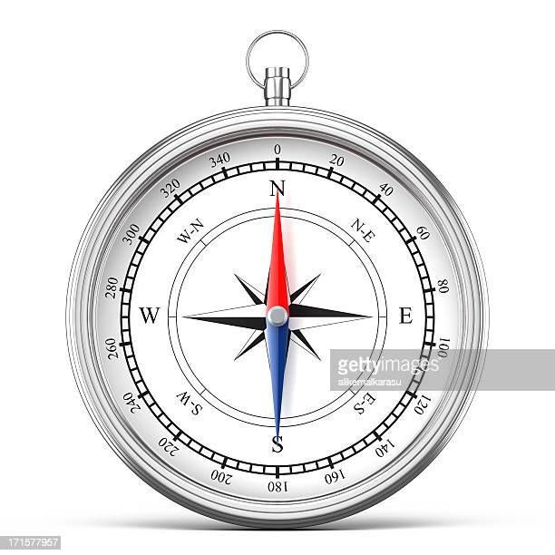 Silver compass isolated on white