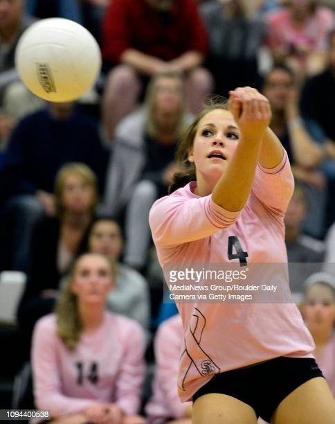 Silver Creek's Angela Walter bumps the ball during the first game against Longmont Thursday night Oct 23 2013 at Silver Creek High School TO VIEW A...
