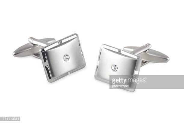 Silberne Manschettenknöpfe mit Kristall-Einsatz