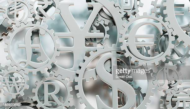 Silver currency symbol cogs horizontal