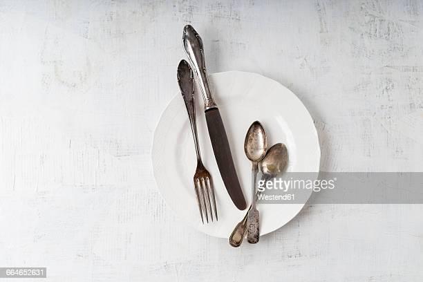 silver cutlery on plate - ティースプーン ストックフォトと画像