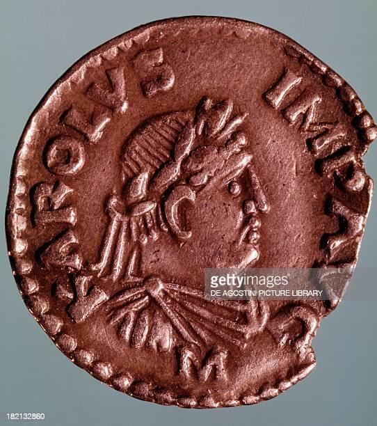 Silver denarius depicting Charlemagne recto Imperial coins 9th century Paris Musée Du Cabinet Des Medailles De La Bibliothèque National De France