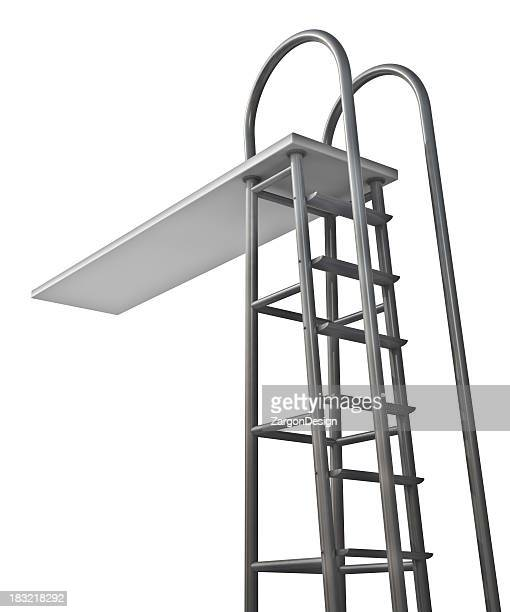 Silver diving board with ladder
