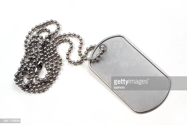 Silver dog tag isolated on white background