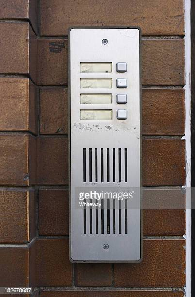 silver entry phone with button buzzers and blank labels - intercom stock pictures, royalty-free photos & images