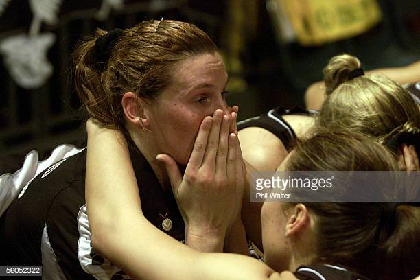 Silver Fern Bernice Mene consoles Donna Lofthagen following their 4241loss to Australia in the World Cup Netball Final played at the WestpacTrust...