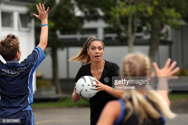 Silver Fern Grace Kara plays a game with students from Auckland Normal Intermediate during the New Zealand Netball Commonwealth Games Team...