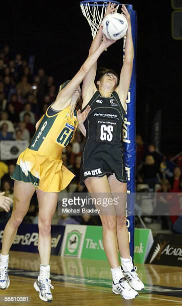 Silver Fern Irene Van Dyk competes with Australian Demelza Fellowes during the third and last Fisher and Paykel netball test match bewteen the Silver...