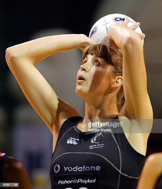 Silver Fern Irene Van Dyk puts up another shot during the first netball test of the Fisher and Paykel Series between the Silver Ferns and England...