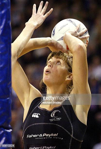 Silver Fern Irene Van Dyk shoots for goal during the first Fisher and Paykel netball test between the Silver Ferns and Australia played at the...