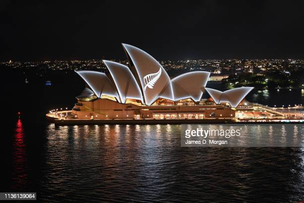 A silver fern is projected onto the sails of the Opera House in commemoration of the victims of the Christchurch massacre on March 16 2019 in Sydney...
