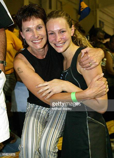 Silver Ferns Adine Harper celebrates with her mum Annette after the final between the Silver Ferns and Australia at the World Netball Champs held at...