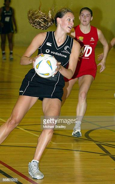 Silver Ferns Adine Harper looks for support during the Netball match between the New Zealand Silver Ferns and the Welsh Development team held at the...
