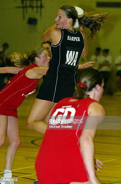 Silver Ferns Adine Harper looks for supportduring the Netball match between the New Zealand Silver Ferns and the Welsh Development team held at the...