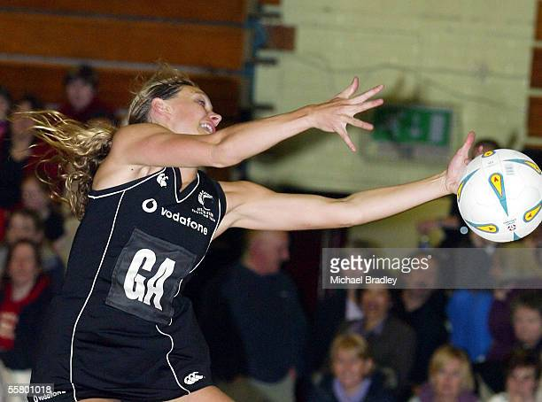 Silver Ferns Adine Harper lunges for the ball during the Netball match between the New Zealand Silver Ferns and the Welsh Development team held at...