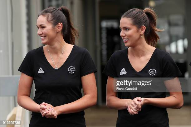 Silver Ferns Ameliaranne Ekenasio and Kayla Cullen during the New Zealand Netball Commonwealth Games Team Announcement on February 8 2018 in Auckland...