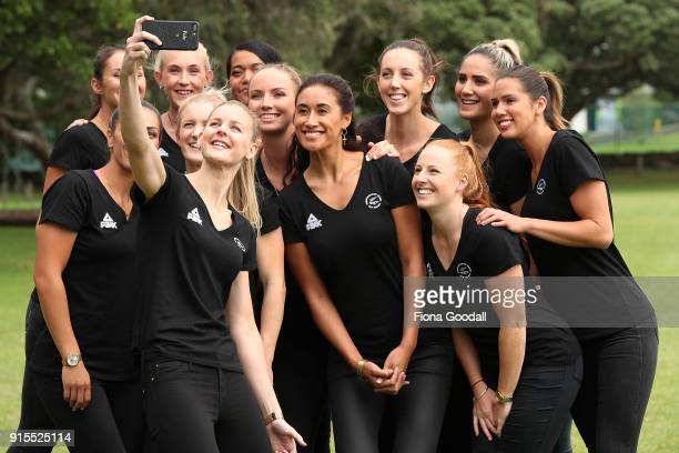 Silver Ferns captain Katrina Grant takes a selfie with the team during the New Zealand Netball Commonwealth Games Team Announcement on February 8...
