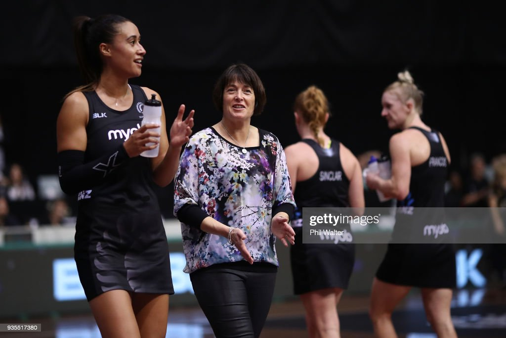 Silver Ferns coach Janine Southby and Maria Folau during the Taini Jamison Trophy match between the New Zealand Silver Ferns and the Malawai Queens at North Shore Events Centre on March 21, 2018 in Auckland, New Zealand.