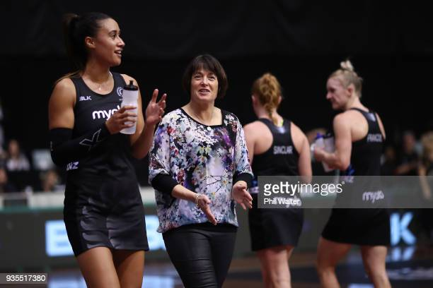Silver Ferns coach Janine Southby and Maria Folau during the Taini Jamison Trophy match between the New Zealand Silver Ferns and the Malawai Queens...