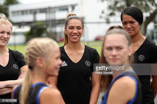 Silver Ferns Grace Kara Shannon Francois and Temalisi Fakahokotau play a game with students from Auckland Normal Intermediate during the New Zealand...