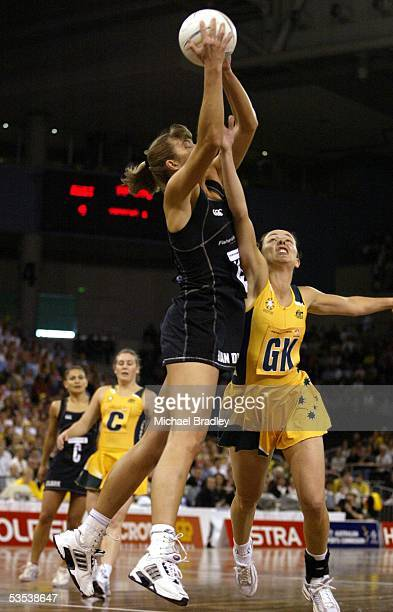 Silver Ferns Irene Van Dyk and Australian Liz Ellis compete during the third netball test between the Silver Ferns and Australia played at Vodafone...