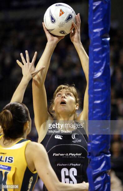 Silver Ferns Irene Van Dyk looks to shot over Australian Liz Ellis during the first Fisher and Paykel netball test between the Silver Ferns and...