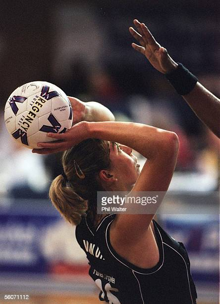 Silver Ferns Irene van Dyk prepares to shoot against Team Pacifika in the Fisher and Paykel Netball match played at the ASB Stadium in Auckland...