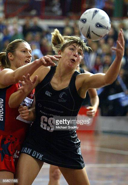 Silver Ferns Irene Van Dyk secures the ball ahead of Naomi Siddall during the third Fisher and Paykel netball test match between the Silver Ferns and...