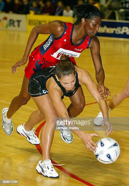 Silver Ferns Temepara Clark and Englands Amanda Newton compete for the ball during the second Fisher and Paykel netball test match between the Silver...