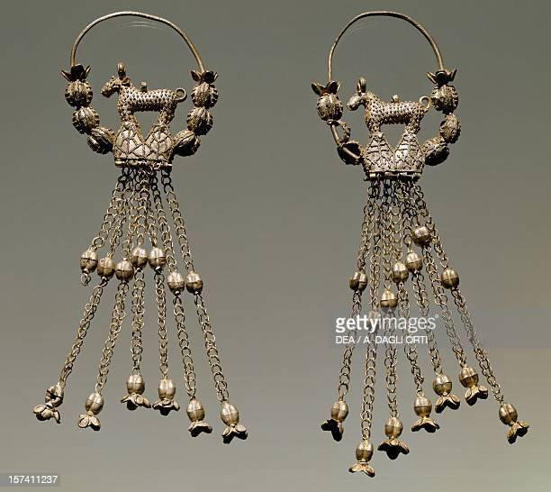 Silver filigree earrings from a Slavic princess' tomb Kourim Bohemia Czech Republic 10th century Prague Národní Muzeum