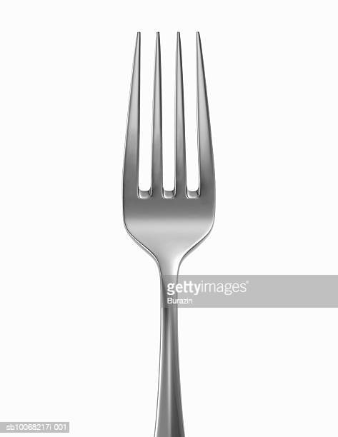 silver fork on white background, close-up - forchetta foto e immagini stock