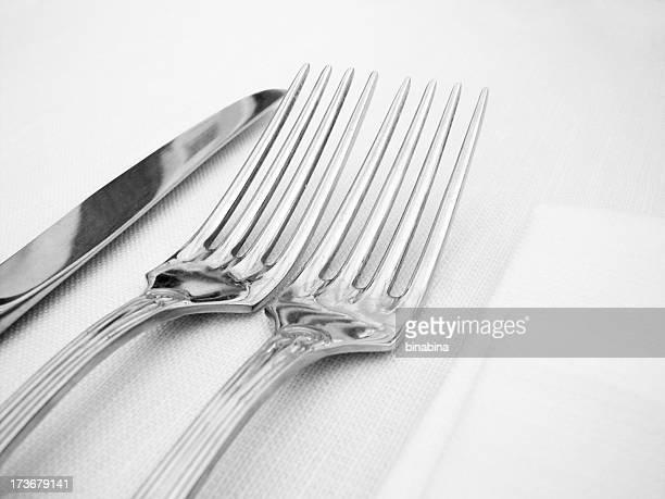silver Gabel und Messer