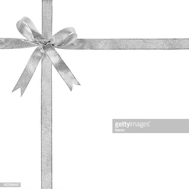 silver gift bow - white satin stock photos and pictures