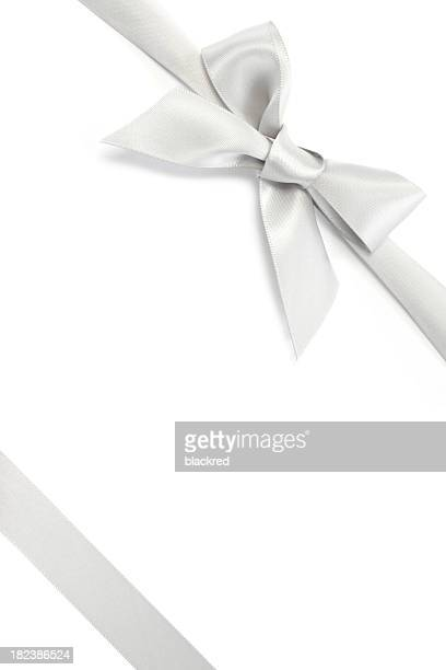 silver gift ribbon & bow - white satin stock photos and pictures
