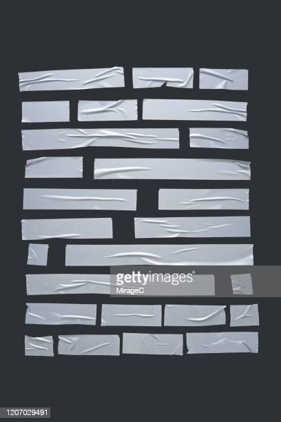 silver gray duct tape stripes collection - silver coloured stock pictures, royalty-free photos & images
