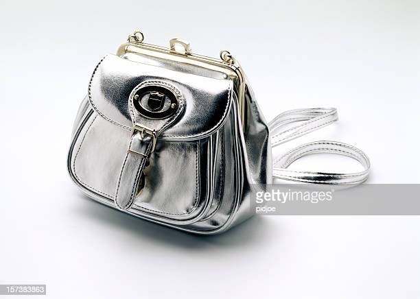 silver handbag - silver purse stock pictures, royalty-free photos & images