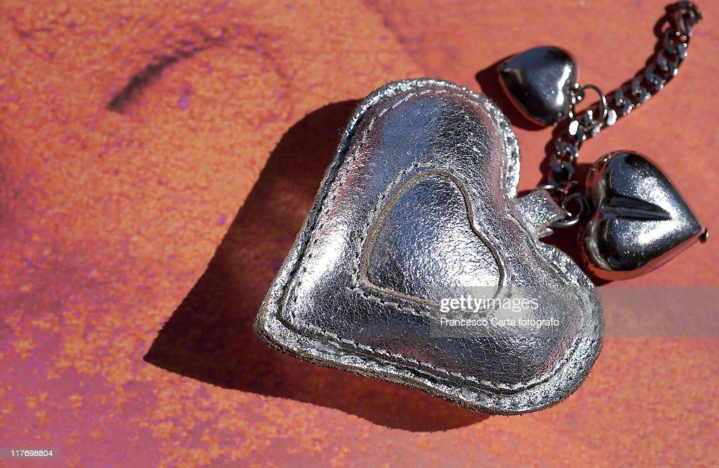 Silver heart : Stock Photo