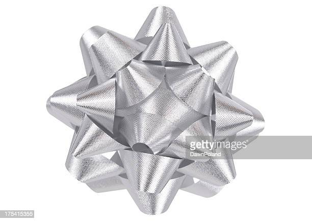 silver holiday bow - silver coloured stock pictures, royalty-free photos & images