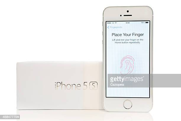 Silver iPhone 5s showing Fingerprint Scan