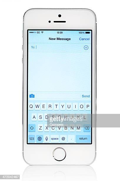 Silver iPhone 5s with iOS7 New Message